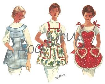 Vintage 1955 Apron Pattern Picture Art Print on Watercolor Paper No. 6