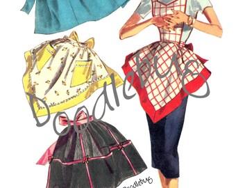 Vintage Apron Pattern Picture Art Print for Digital Download No. 1391