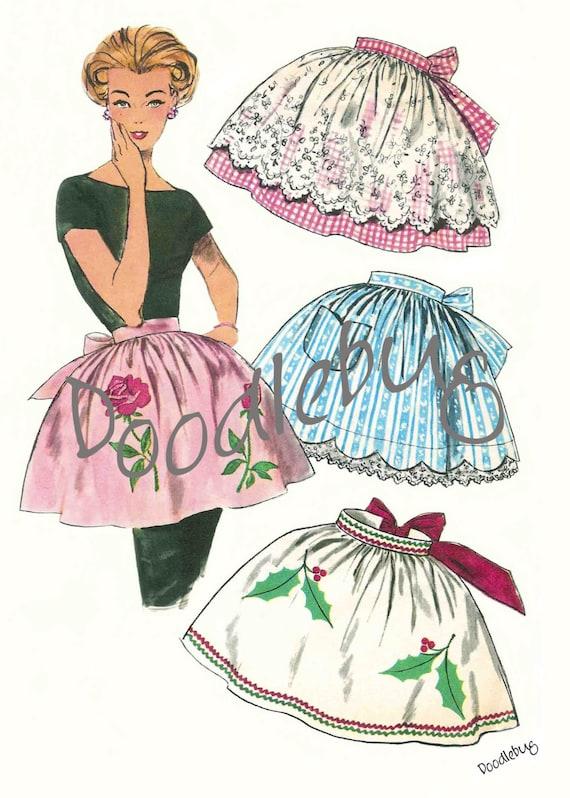 Vintage Apron Pattern Picture Art Print on Watercolor Paper No. 3