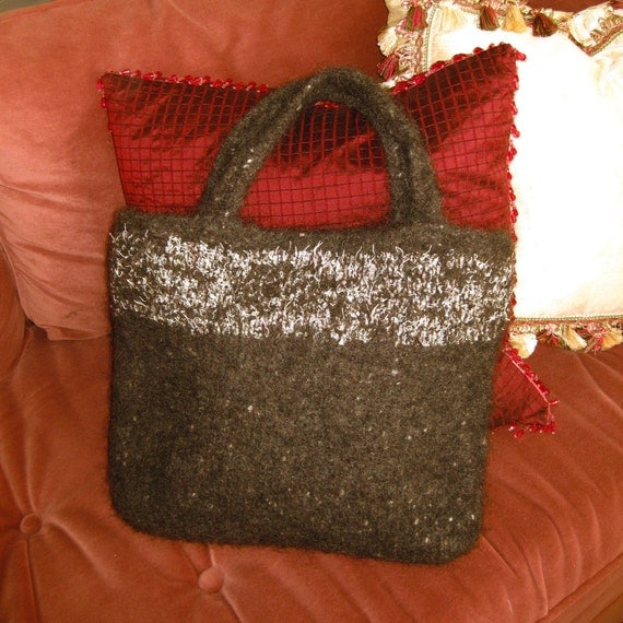 Hand Knitted Felted Wool  Heather Brown Tote Bag