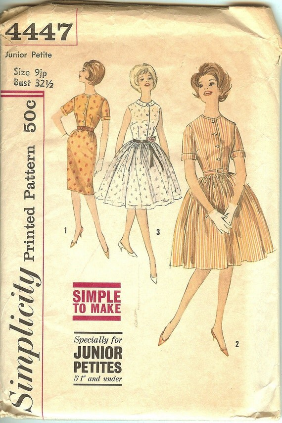 Vintage Simplicity 4447 Dress Pattern Copyright 1960's