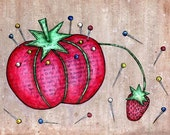 Red and Green Tomato Pincushion with Strawberry Needle Sharpener -  5x7 Mixed Media Reproduction Art Print - Classic Pin-up