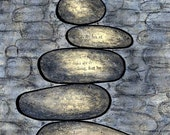 Focus - Blue and Gray River Rock Tower Pile Cairn  - Focus - Balance  5x7 Mixed Media Wall Art Print