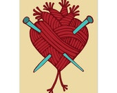 Red Anatomical Heart of Yarn with Turquoise Knitting Needles  - Lovin Knit- 5x7 Digital Art Print