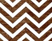 Dark Brown Wood Grain Faux Bois White Chevron Pattern Art Print Home Decor -  8 x 10 - Chevron No. 1