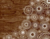 Dark Brown Woodgrain Faux Bois White Spirograph Home Decor Art Print  -  8 x 10 - Spirograph No.3 - Dark