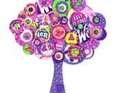 Full Circle Tree - Pink, Purple, Neon Green, Yellow and Peach Nerd Candy Tree -  8x8 Collage Pop Art Print - Kids Room Decor