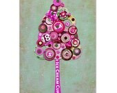 Full Circle Tree - We All Scream for Ice Cream - 5x7 Collage Reproduction Art Print - Pink, Pastel Green, Brown and white
