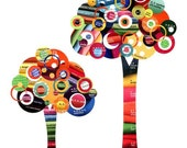 Rainbow Full Circle Trees - Bright Multi-colored Circle Trees 8x8 Collage Pop Art Print - Kids Room Decor  - Home Decor