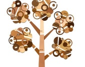 Full Circle Tree - Brown Paint Chip Tree - 5x7 Collage Reproduction Print