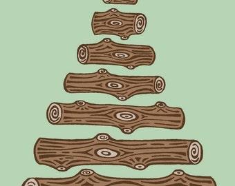 Green and Brown Log Tree Illustration - 5X7 Print