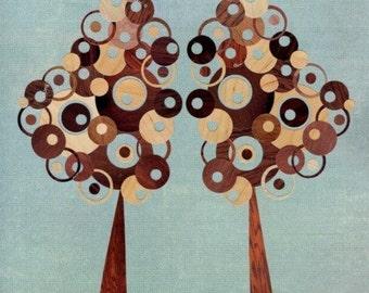 Tree Art Print 8x10 Collage Reproduction Art Print - Blue, Brown Wood Grain, Faux Bois Trees - Full Circle Tree Twins - Gemini -