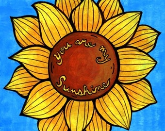 Yellow and Rust Red Sunflower surrounded by Blue Sky - You Are My Sunshine - 8x8 Art Print
