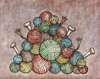Balls of Yarn 8x10 Mixed Media Reproduction Art Print - Lovin Knit - Pile O' Yarn