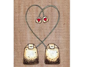 Tea Bag Heart Strings - Tea Time - 8x10 Mixed Media Reproduction Art Print