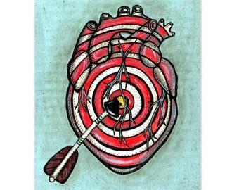 Bullseye Target Art Print.  Anatomical Heart Art. 8x10 Print. Heart and Arrow Art. Dorm Room Art. Heart Painting Reproduction Bedroom Art