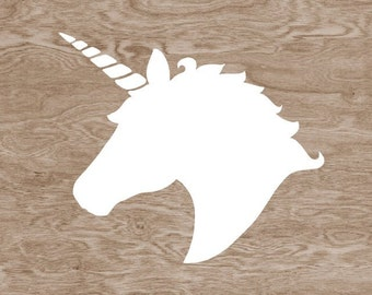 White Unicorn Head Silhouette on Brown Wood Grain Faux Bois-  8 x 10 Home Decor Wall Art Print - Do you Believe in Magic