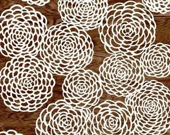 Dark Brown Wood Grain Faux Bois White Mum Flower Floral Art Print  -  8 x 10 - Mums the Word