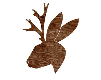 Dark Brown Woodgrain Faux Bois Jackalope Head Silhouette Art Print  -  8 x 10 Home Decor Wall Art - You Don't Know Jack