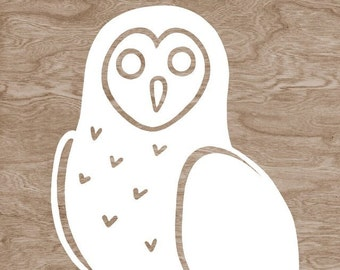 White Owl Silhouette on Brown Woodgrain Faux Bois Art Print  -  8 x 10 Home Decor Wall Art - You're A Hoot