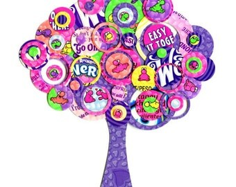 Full Circle Tree - Pink, Purple, Neon Green, Yellow and Peach Nerd Candy Tree -  8x8 Collage Pop Art Print - Kids Room Decor