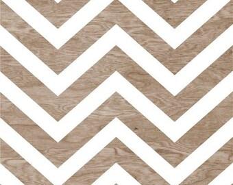 Light Brown Wood Grain Faux Bois White Chevron Art Print Home Decor -  8 x 10 - Chevron Pattern No. 6