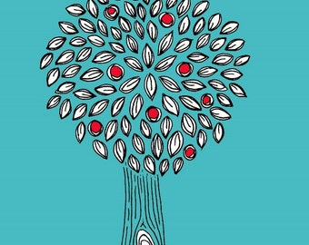 Turquoise, Red, Black and White Apple Tree  - 5X7 Art Print