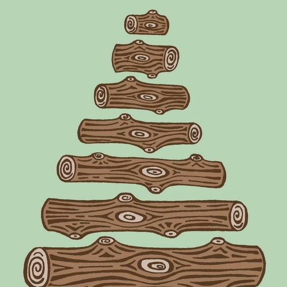 Green and Brown Log Tree Illustration - 5X7 Print