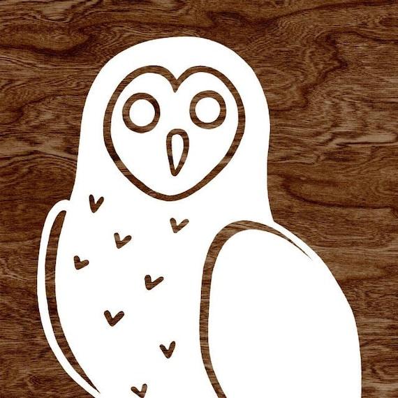 White Owl Silhouette on Dark Brown Woodgrain Faux Bois Art Print  -  8 x 10 Home Decor Wall Art - You're A Hoot