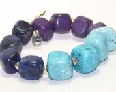 Inventory Clearance Sale. Navy Sky Blue and Purple Nugget Chunk Bracelet