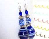 Inventory Clearance Sale. Blue and White Glass Earrings