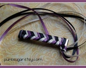 Awesome 80s Style Braided Barrette - 3 Ribbon - Purple, Black, White
