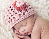 KNITTING PATTERNS baby girl hat  'pretty lace flower'