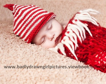 christmas KNITTING PATTERNS pdf - classic pixie beanie - sizes newborn