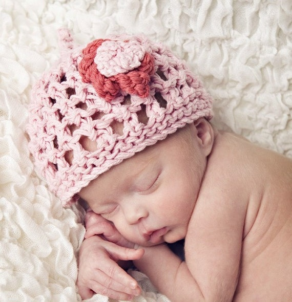 KNITTING PATTERNS baby hat pretty lace flower by rocketclothing