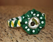Baylor Woven Headband with Ribbon Ruffle and Bottle Cap