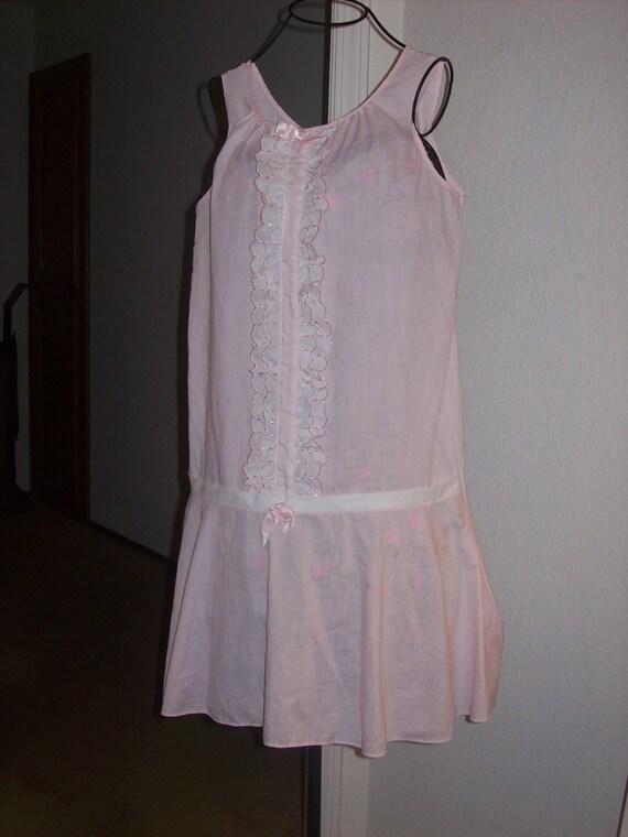Vintage Soft Pink White Cotton Nightgown Slip Nightie Lingerie Sleeveless Dress