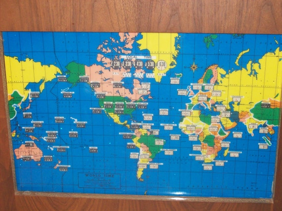 Vintage 1959 Howard Miller Large International World Time Zones Scrolling Electric Lighted Wall Clock Map Home Decor Works Perfectly