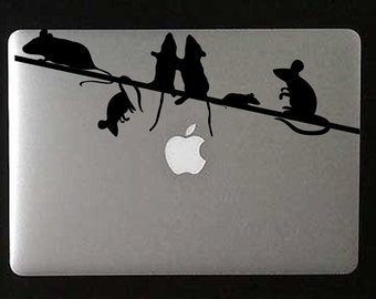 Mice on a wire laptop vinyl decal