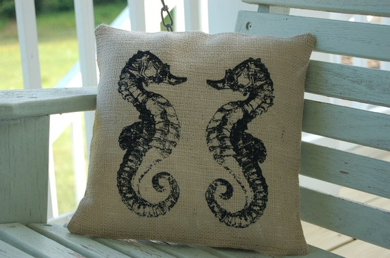 Burlap Pillow Cover with Seahorses