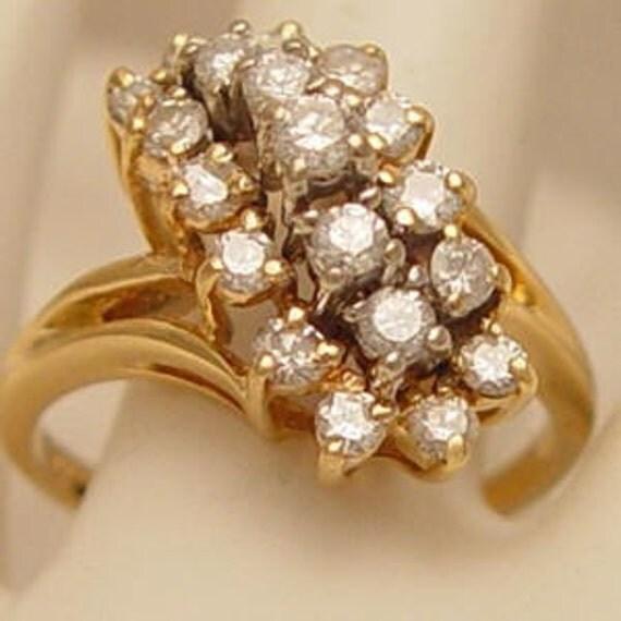 Lovely Vintage Diamond Waterfall 14kt Gold Estate Ring