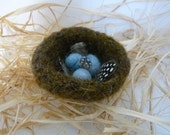 4 Felted Birds Nests with Eggs