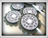 Cupcake Toppers set of 12 Celtic Green White and Black Saint Patricks Day Decoration One Dozen