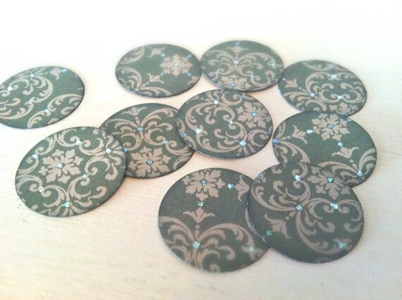 1 inch Stickers Set of 12 Green Damask with Glitter One Dozen