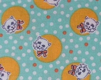 Retro Cats- Robert Kaufman Fabric- Booster Club Pets On Parade in Aloe