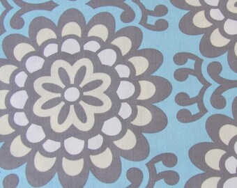 fabric- Amy Butler- sale- blue, grey, floral, modern, large print, wall flower in sky