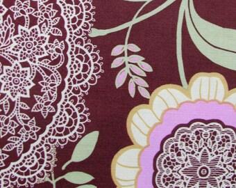 Amy Butler Fabric- Lotus Lacework in Brown- 1 yard