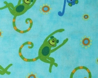 Robert Kaufman Fabric- Monkey, Zoo Animals, Turquoise, Green