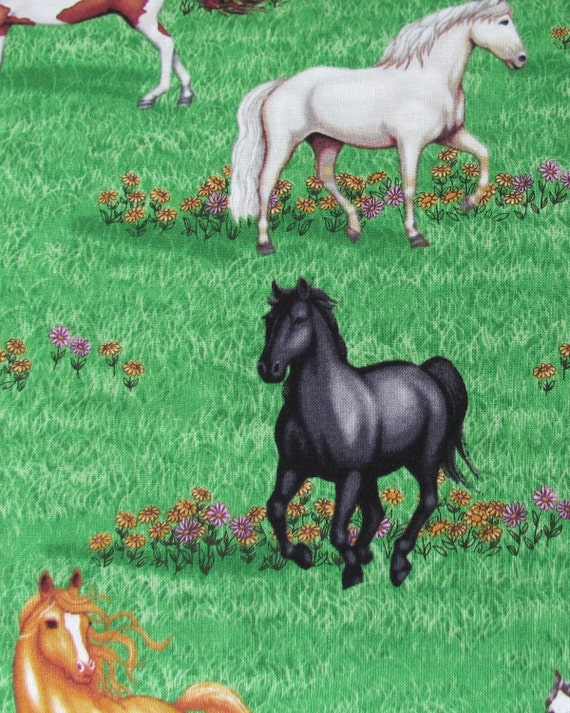 Fabric- Robert Kaufman Pony Club in Green