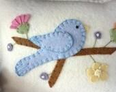 Wool Felt Spring Bluebird & Flower Penny Rug Pincushion Shelf Pillow